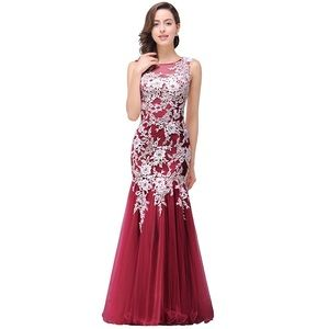 Dresses & Skirts - Lace Mermaid Evening Sheer Backless Long Prom